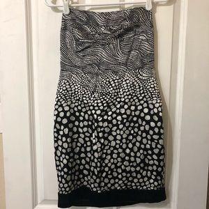 bebe Black & White Silk Strapless Dress Size Small